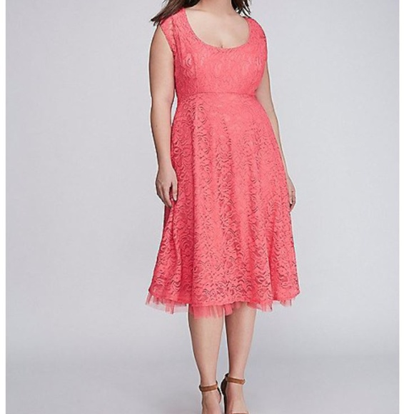 2427bc1ba48 Lane Bryant Lace Fit   Flare Dress with Tulle Hem